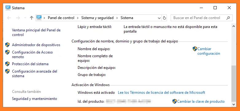 El estado de Windows está activado